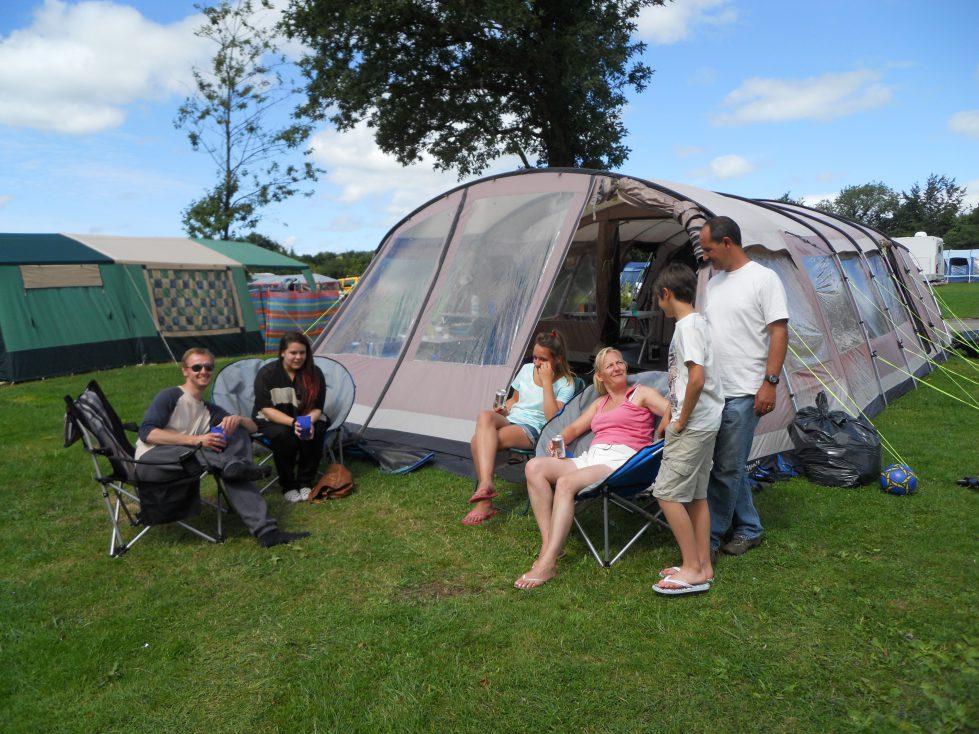Grass Camping Pitch at Riverside Camping & Caravan Park, South Molton