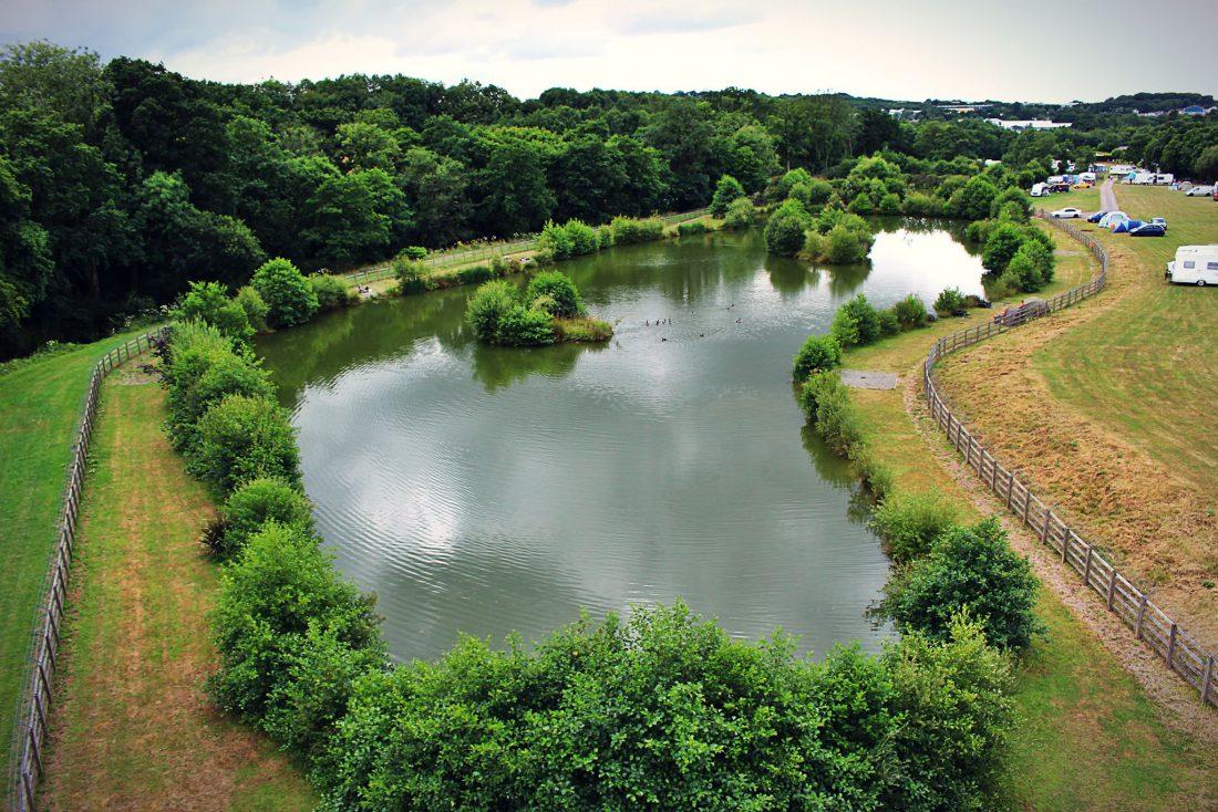 Lake at Washing Up Area at Riverside Camping & Caravan Park, South Molton