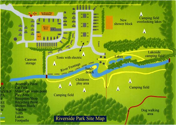 Park Map Riverside Camping & Caravan Park, South Molton